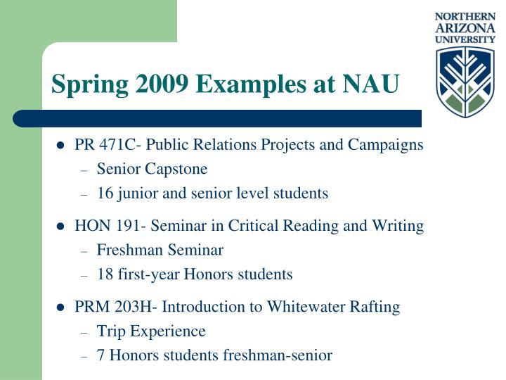 Spring 2009 Examples at NAU