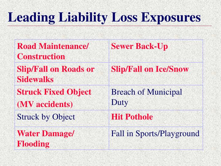 Leading Liability Loss Exposures