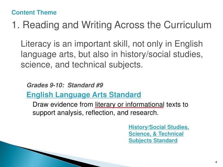 1. Reading and Writing Across the Curriculum