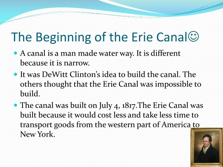 The beginning of the erie canal