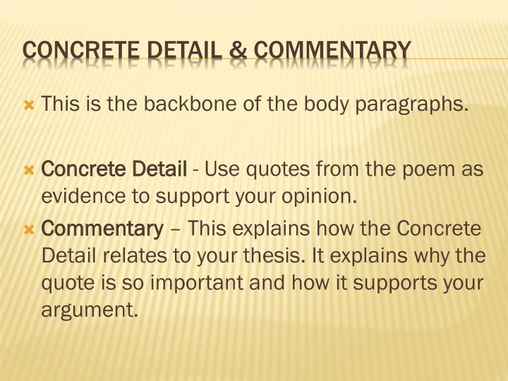 This is the backbone of the body paragraphs.