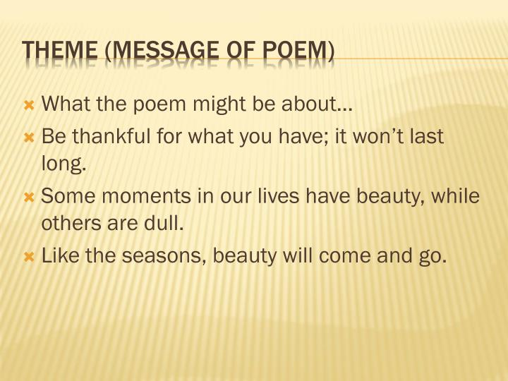 What the poem might be about…