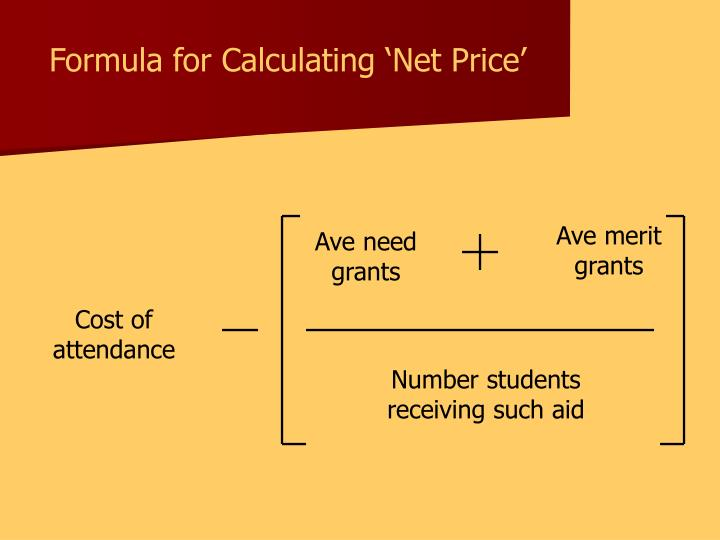 Formula for Calculating 'Net Price'