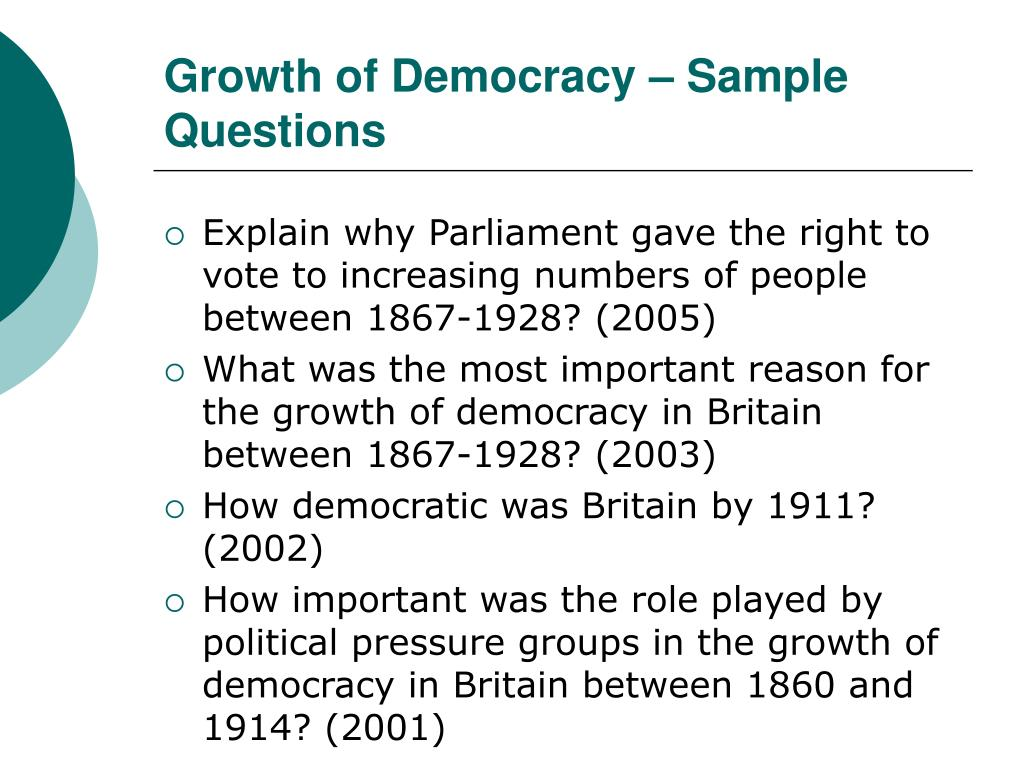 PPT - Growth of Democracy - Sample Questions PowerPoint ...
