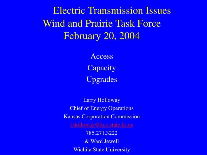 electric transmission issues wind and prairie task force february 20 2004
