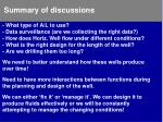 summary of discussions1