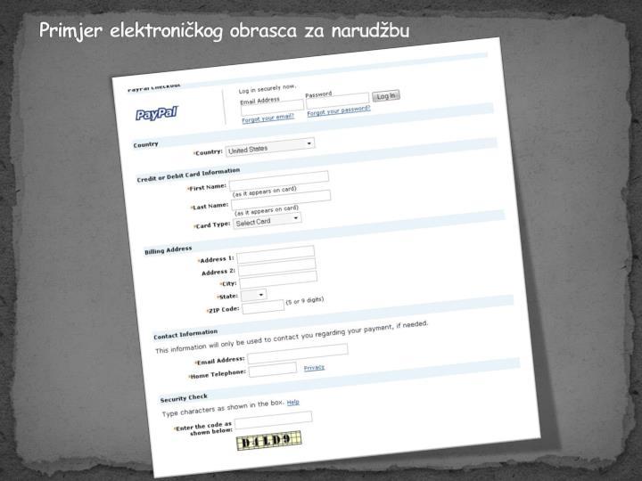 Primjer elektroničkog obrasca za narudžbu