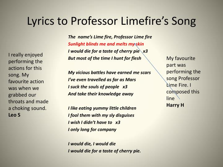 Ppt Lyrics To Professor Limefire S Song Powerpoint Presentation Free Download Id 3090086