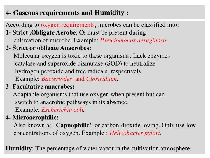 4- Gaseous requirements and
