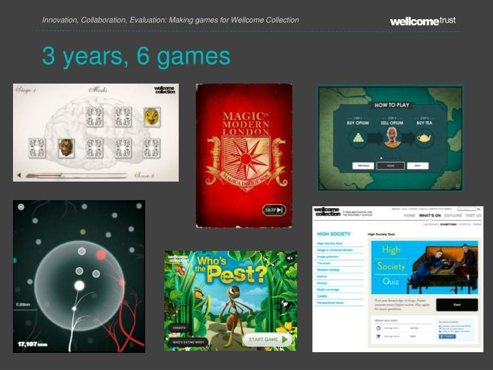 Innovation, Collaboration, Evaluation: Making games for Wellcome Collection