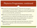 phyterra programme continued