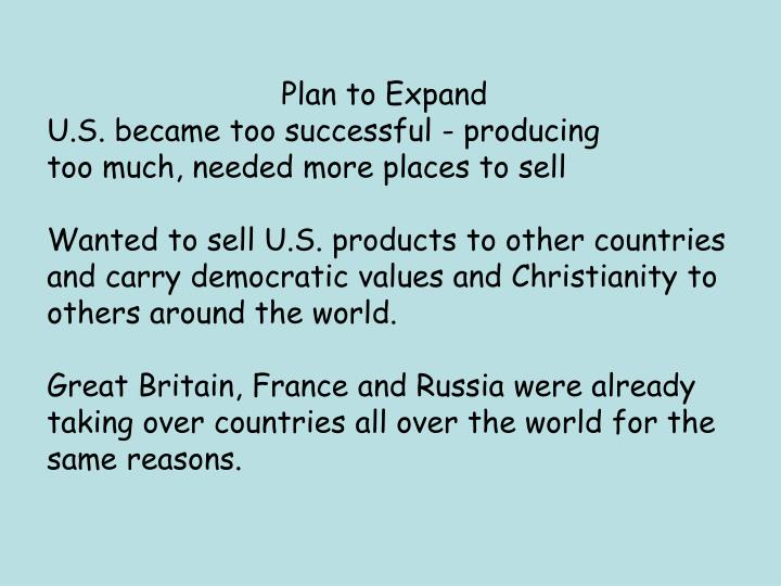 Plan to Expand