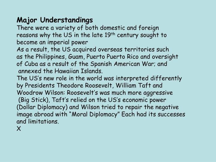 Major Understandings