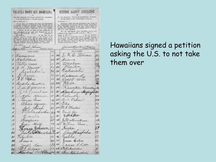 Hawaiians signed a petition