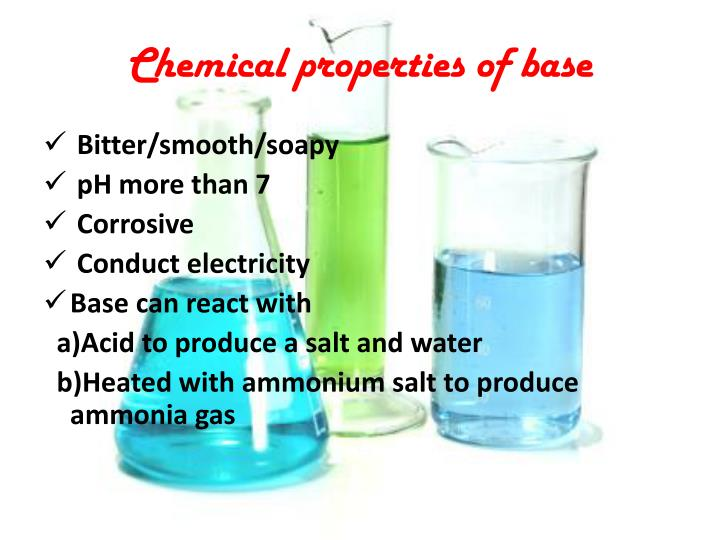 Chemical properties of base