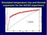 simulated temperature rise and thermal expansion for the 4xco2 experiment