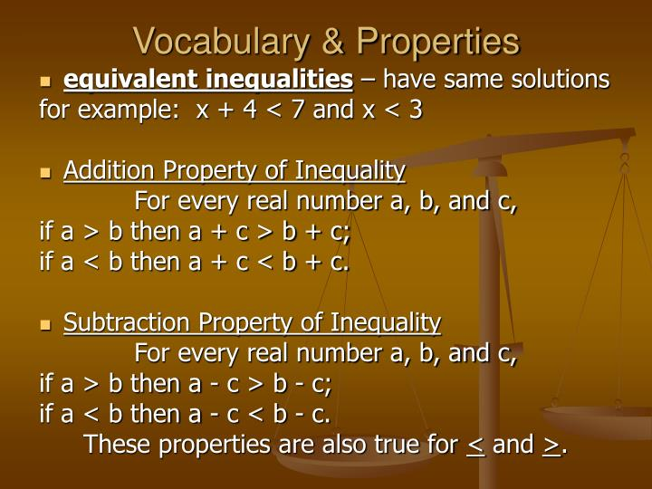 Vocabulary & Properties