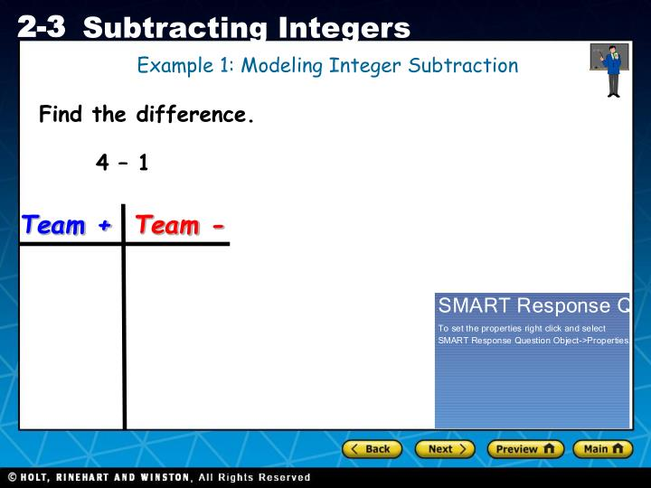 Example 1: Modeling Integer Subtraction