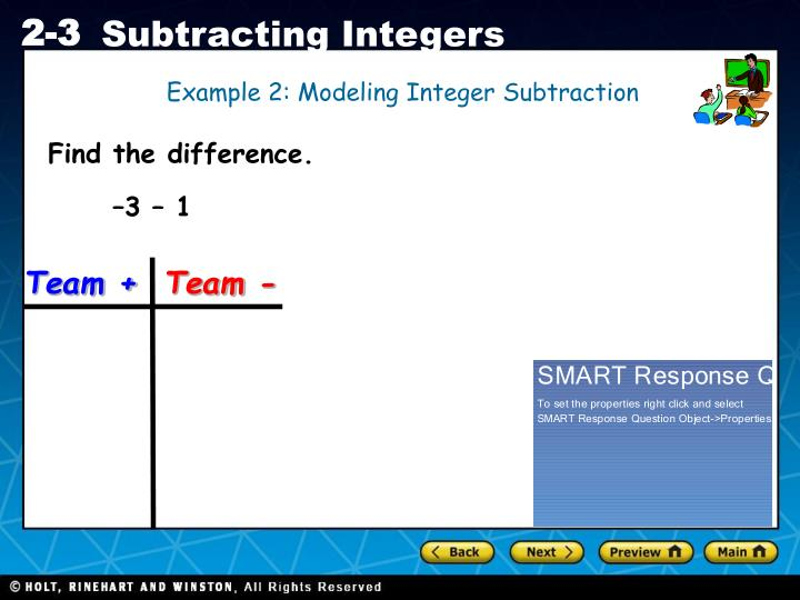 Example 2: Modeling Integer Subtraction