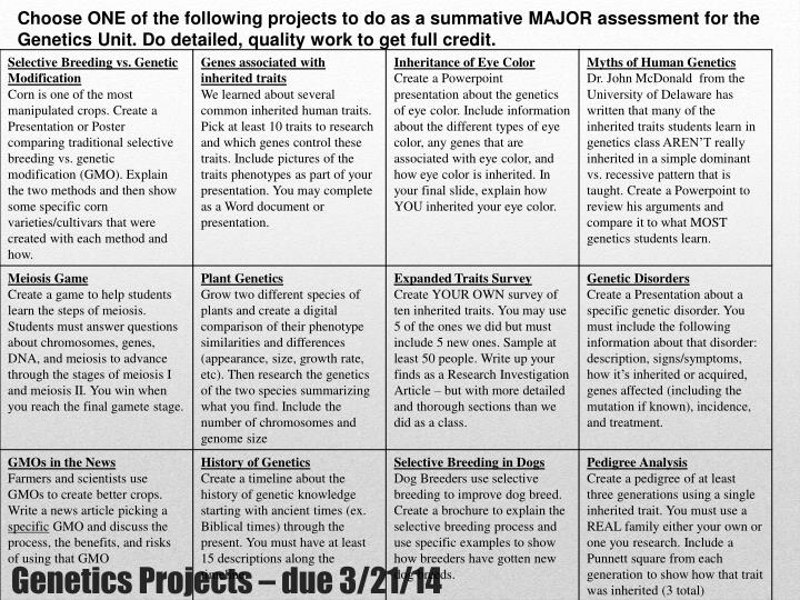 Choose ONE of the following projects to do as a summative MAJOR assessment for the Genetics Unit. Do detailed, quality work to get full credit.