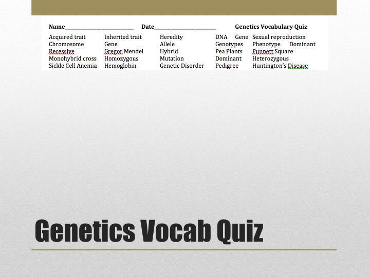 Genetics Vocab Quiz