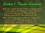 section 1 teacher questions
