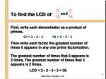 to find the lcd of