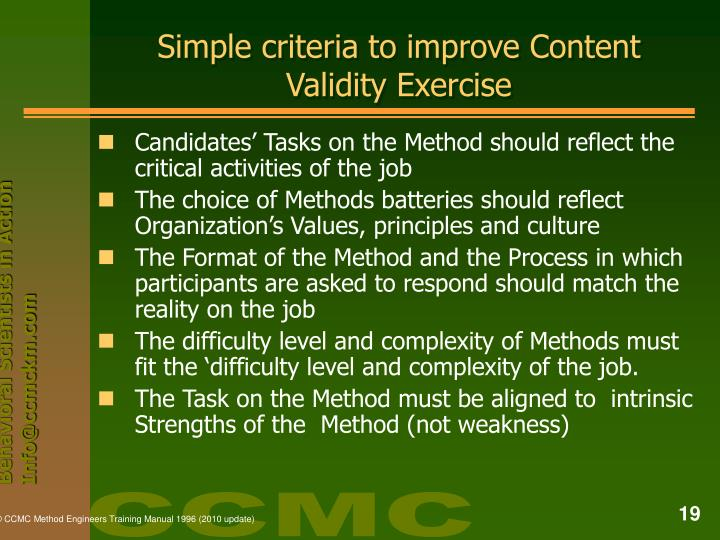 Simple criteria to improve Content Validity Exercise
