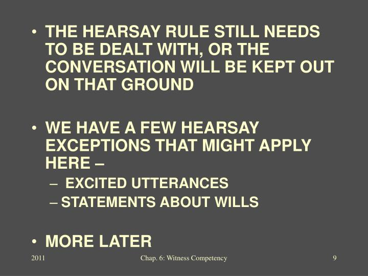THE HEARSAY RULE STILL NEEDS TO BE DEALT WITH, OR THE CONVERSATION WILL BE KEPT OUT ON THAT GROUND