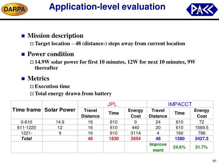 Application-level evaluation