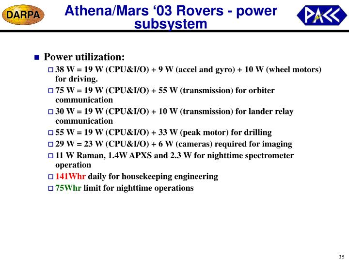 Athena/Mars '03 Rovers - power subsystem