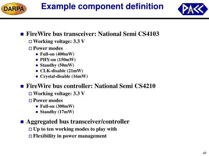 Example component definition