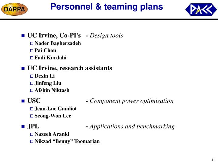 Personnel & teaming plans