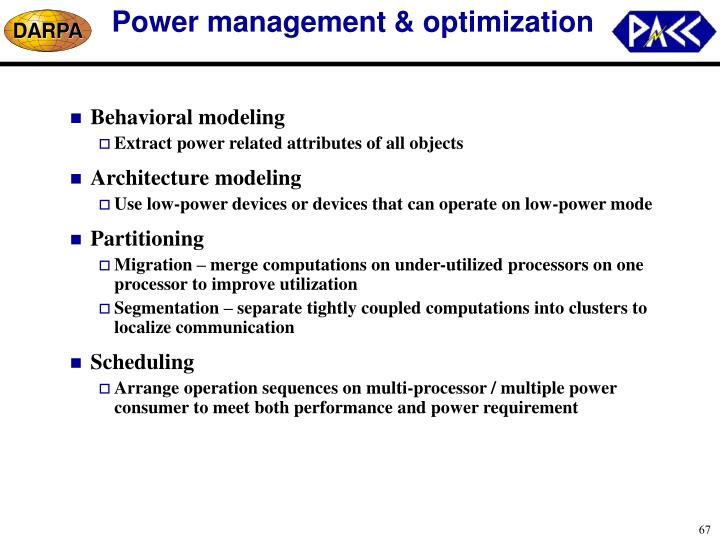 Power management & optimization