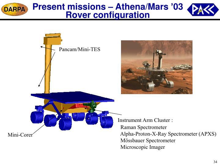 Present missions – Athena/Mars '03 Rover configuration