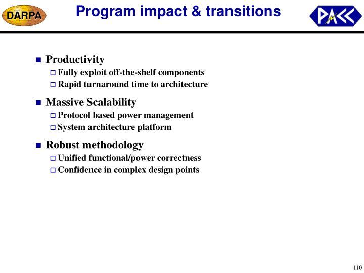 Program impact & transitions