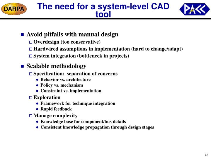 The need for a system-level CAD tool