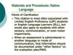 materials and procedures native language