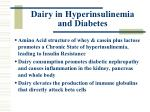 dairy in hyperinsulinemia and diabetes
