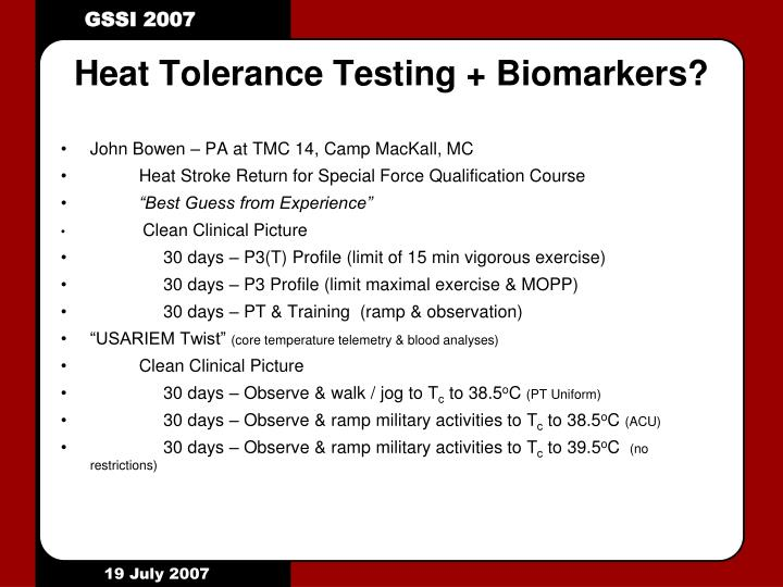 Heat Tolerance Testing + Biomarkers?