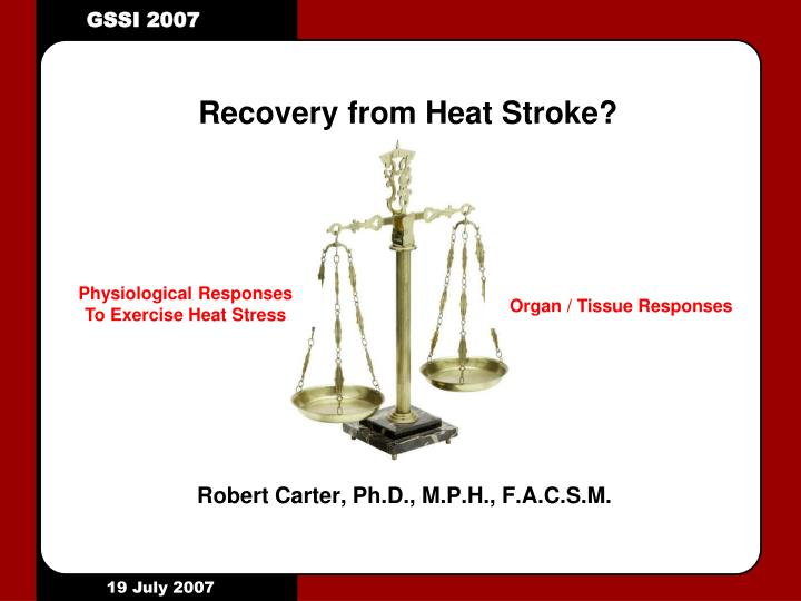 Recovery from heat stroke