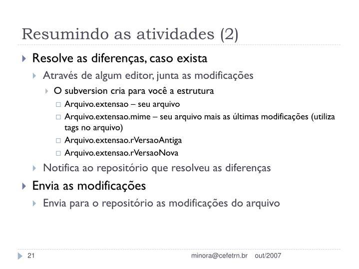 Resumindo as atividades (2)