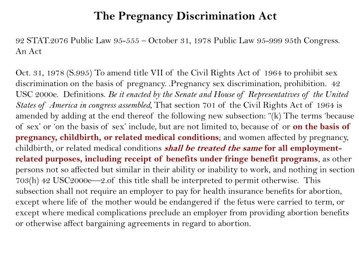 women discrimination and family law act Learn how this law can protect you at work the pregnancy discrimination act prohibits your boss of pregnant women the family and medical leave act of.