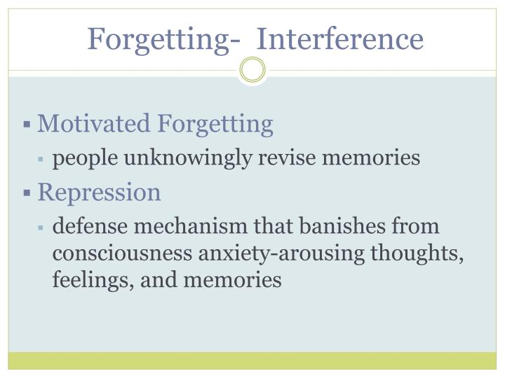 Forgetting-  Interference