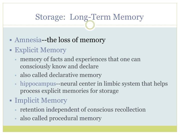 Storage:  Long-Term