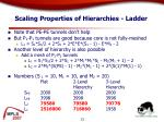 scaling properties of hierarchies ladder