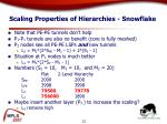 scaling properties of hierarchies snowflake