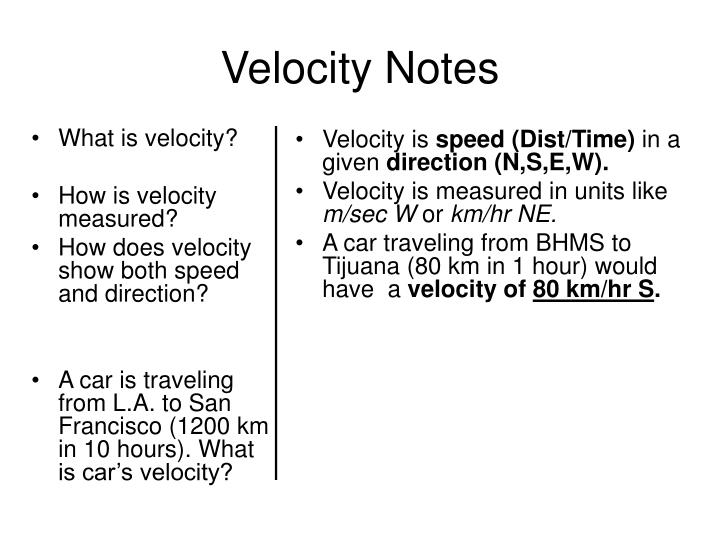velocity notes n.