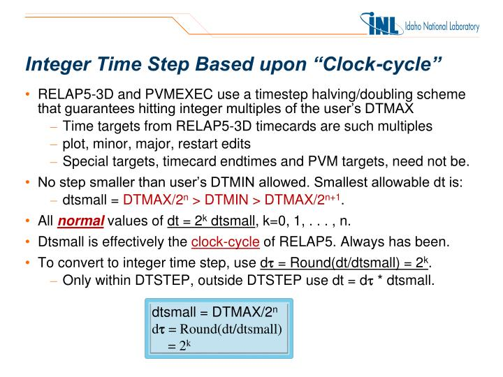 """Integer Time Step Based upon """"Clock-cycle"""""""