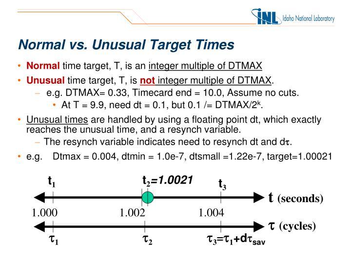 Normal vs. Unusual Target Times